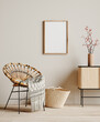 canvas print picture Mock up frame in cozy beige home interior background, Boho style, 3d render