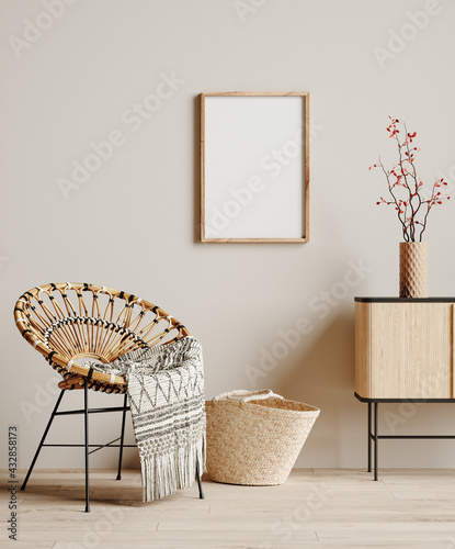 Mock up frame in cozy beige home interior background, Boho style, 3d render