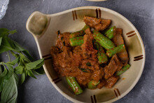 Stir Fried Crispy Pork Curry With Long Beans On Thai Food