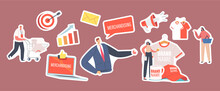 Set Of Stickers Merchandising. Characters With Promotional Products For Brand Identity. Businessman Presenting T-Shirt