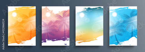 Summertime backgrounds set with palm trees, summer sun and brush strokes for your graphic design. Sunny Days. Vector illustration.
