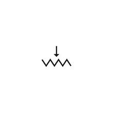 Potentiometer Vector Symbol, Potentiometer Icon In Electronic Circuits