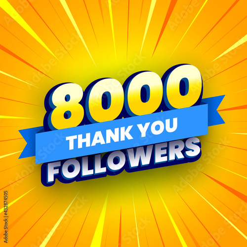 Fototapeta 8000 followers banner with blue ribbon
