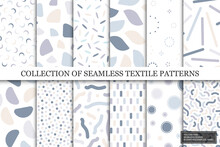 Collection Of Vector Seamless Colorful Patterns. Trendy Delicate Textile Design. Simple Unusual Prints. You Can Find Repeatable Backgrounds In Swatches Panel