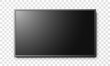 Black flat screen LCD tv isolated on transparent background vector illustration.