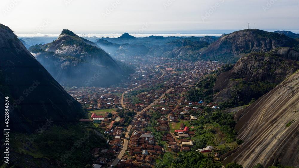 Aerial shot of the beautiful Idanre Town in Ondo State captured in Nigeria
