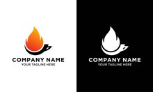 Fire Flame Hot Roasted Coffee Logo Icon