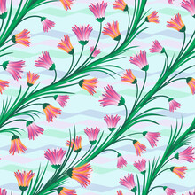 Abstraction From Flowers And Geometric Lines On A Green Background Pattern