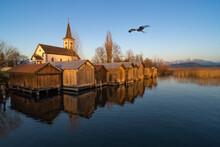 Beautiful Scenery Along Of Small Harbor Of The Idyllic Lakeside Village Of Busskirch, Rapperswil-Jona, St. Galen, Switzerland