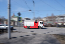 Novokuznetsk,Russia-23.04.2021.A Fire Truck Rushes At High Speed To The Fire