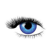 Detailed Realistic Blue Eye With Beautiful Eyelashes On White