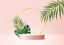 3d Background Products Display Podium Scene With Green Leaf Geometric Platform. Background Vector 3d Render With Podium. Stand To Show Cosmetic Products. Stage Showcase On Pedestal Display Pink Studio