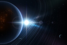 Space And Planets With Light Effect