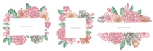 Floral Frames With Pastel Hibiscus, Plum Flowers, Peach Flowers, Sakura Flowers, Magnolia Flowers, Camellia Japonica