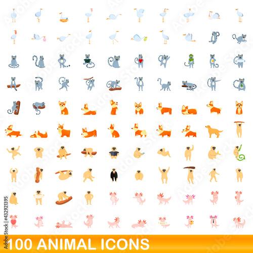 Naklejka premium 100 animal icons set. Cartoon illustration of 100 animal icons vector set isolated on white background