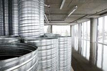 Aluminum Pipes In Empty Office Space