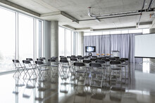 Folding Chairs Ready For Business Conference In Conference Center