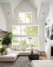 Luxury Home Showcase Interior Living Room With Vaulted Windows