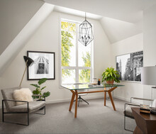 Luxury Home Showcase Interior Home Office With Angled Ceiling
