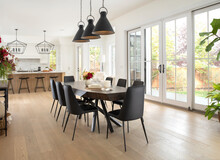 Luxury Home Showcase Interior Dining Table With Black Chairs