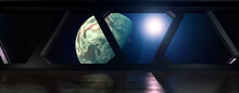 Space Station - View On A Planet Out Of A Space Station In Orbit - 3D Rendering