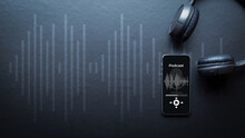 Podcast Music. Mobile Smartphone Screen With Podcast Application, Sound Headphones. Audio Voice With Radio Microphone On Black Background. Broadcast Media Music Banner With Copy Space.