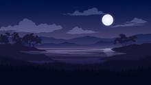 Beautiful Moonlight Night Landscape With Lake Trees