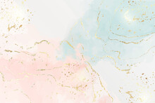 Abstract Two Colored Pink And Blue Liquid Marble Background With Gold Foil Textured Stripes And Glitter Dust. Pastel Marbled Watercolor Drawing Effect. Vector Illustration Backdrop With Gold Splatter