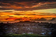 Burning Sunrise Over Auckland One Tree Hill, Mount Roskill New Zealand