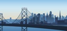San Francisco Cityscape View California Illustration