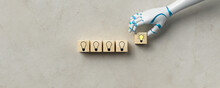 Robot Hand Adding A Cube With A Bright Lightbulb Symbol To A Stack Of Unlit Ones On Concrete Background