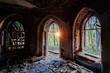 Leinwandbild Motiv Inside old ruined abandoned historical Khvostov's mansion in Gothic style