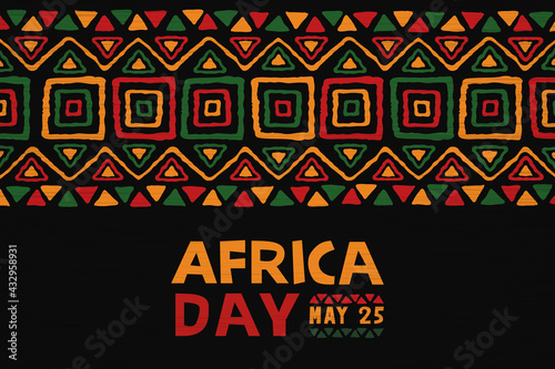 Africa Day may 25 colorful ethnic tribal art banner - fototapety na wymiar