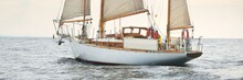 Old Expensive Vintage Two-masted Sailboat (yawl) Close-up, Sailing In An Open Sea During The Storm. Sport, Cruise, Tourism, Recreation, Transportation, Nautical Vessel. Panoramic View, Seascape
