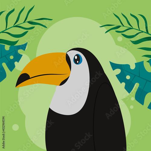 Naklejka premium toucan with leaves