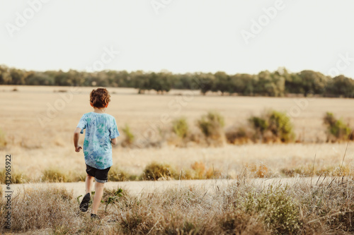 Fototapeta Young brunette boy in the Australian bush