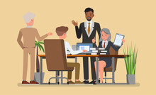 Business Office Connection Working Concept. People Character Vector Design.