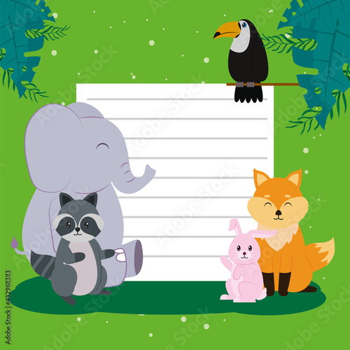 Naklejka premium elephant and animals with paper note
