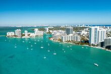 Aerial Drone View Of Miami Beach From The Intracoastal Waterway