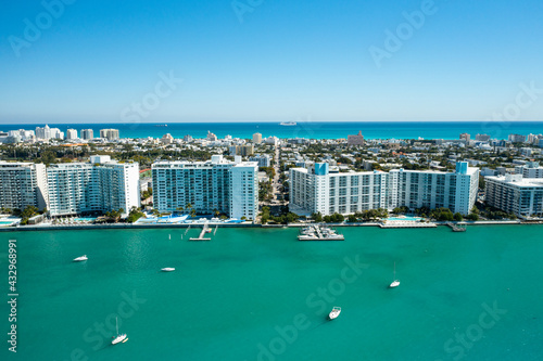 Aerial drone view of Miami Beach from the intracoastal waterway Fototapeta