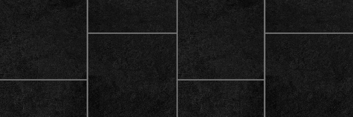 Panorama of Polished Granite Floor Tiles black texture and background seamless