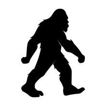 Isolated Vector Bigfoot Silhouette Illustration