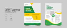Lawn Mower Garden Or Landscaping Service Flyer Template. Business Flyer Poster Pamphlet Brochure Cover Design Layout Background, A4 Size Leaflet, Grass, Equipment, Gardener
