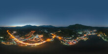 360 Panorama By 180 Degrees Angle Seamless Panorama Of Aerial View Of Ban Rak Thai Village, Chinese Hotel Resort At Night, Mae Hong Son, Thailand. Nature Landscape In Travel Trip And Vacation.