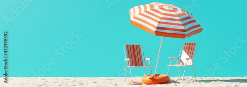 Fototapeta Summer beach concept, chair with umbrella and inflatable ring on blue background. 3d rendering obraz