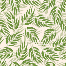Floral Seamless With Hand Drawn Color Leaves. Cute Autumn Background. Tropic Green Branches. Modern Floral Compositions. Fashion Vector Stock Illustration For Wallpaper, Posters, Card, Fabric, Textile