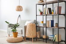 Interior Of Modern Living Room With Shelf Unit And Sofa