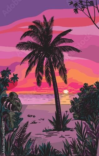 silhouettes of palm trees. sunset on a tropical island - fototapety na wymiar