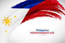Happy Independence Day Of Philippines With Watercolor Brush Stroke Flag Background With Abstract Watercolor Grunge Brush Flag