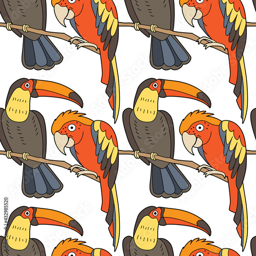 Naklejka premium Endless texture with cute funny birds living in tropics. Seamless pattern with parrots for kid design